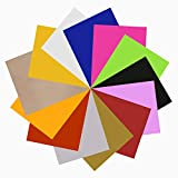 JANDJPACKAGING Assorted Colors 12 Sheets 12'x 10' Transfer Bundle Iron on HTV for T Shirts, Hats, Clothing Heavy Duty Vinyl for Silhouette Cameo, Cricut or Heat Press Machine Tool