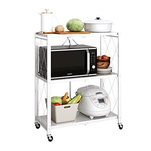 g/j/f 3 Tier Free Installation Shelving Storage Unit,Foldable Serving Cart Metal Kitchen Racks for Living Room Bathroom Bedroom Checkroom Office 70x34x88 cm