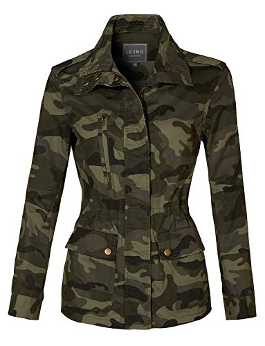 LE3NO Womens Long Sleeve Drawstring Waist Camo Military Anorak Jacket with Pockets, Olive, Small