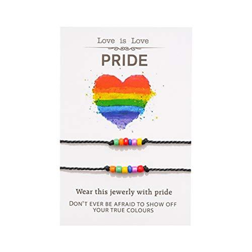 JIFNCR 2 pulseras de pareja con cuentas coloridas hechas a mano para parejas, pulsera a juego, cadena de la amistad, cordón con joyería para mujeres, hombres, accesorios de regalo