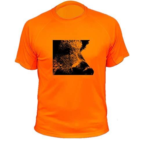 Jagd T Shirt, Wildschwein Zoom, Lustiges Geschenk für Jäger (300, Orange, 3XL)