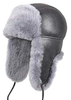 Zavelio Unisex Shearling Sheepskin Leather Aviator Russian Ushanka Trapper Winter Fur Hat Medium Light Blue