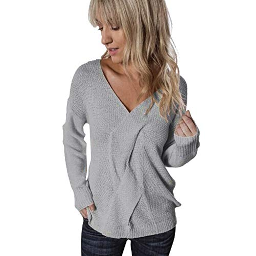 Best Prices! Womens V-Neck Knitted Sweater | Ladies Long Sleeve Lightweight Pullover Loose Casual Ju...