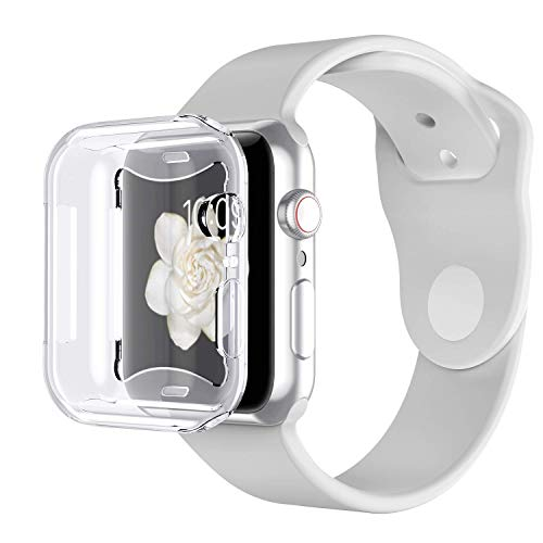 Tech Express 360° Clear Protection Screen Protector Case Compatible with Apple Watch Series 4, 5 [iWatch Cover] Skin Rugged Gel Case Anti Scratch Shockproof Accessories Tough Bumper Full Body (40mm)