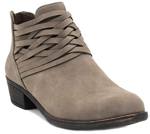 LONDON FOG Womens Mittle Dress Block Heel Ankle Boot, Ladies Back Zip Bootie with Criss Cross Wraparounds Grey 8