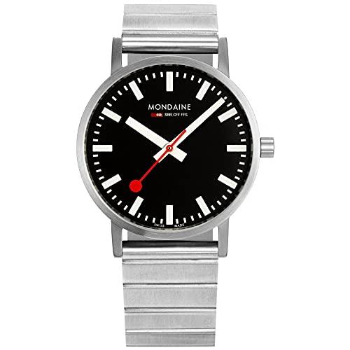 MONDAINE Reloj clásico de pulsera de acero inoxidable con esfera negra A660.30314.16SBW