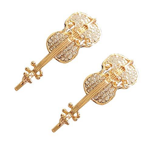 Romanticngt 2 PCS elegantes hechos a mano de las horquillas de metal del violín de la pinza de pelo de cristal diamantes de imitación de pelo Barrettes Accesorios for el cabello for los regalos de bod