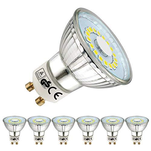 EACLL Bombillas LED GU10 6000K Blanco frio 5W 450 Lúmenes Equivalente 50W Halógena Lámpara. 120 ° Luz Diurna Blanca Fría Spotlight, 6 Pack