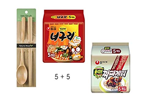 Korean Mukbang Kit_Combination of Black Been Noodle and Spicy Noodle + Wooden Chopsticks and Spoon Package_Ramdon or Jjapaguri Package (Packages)