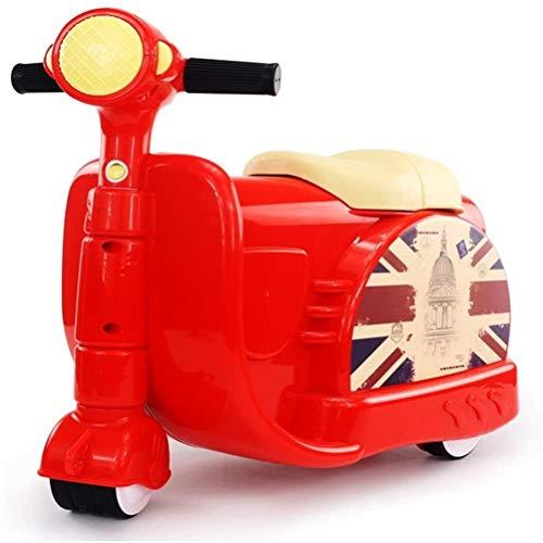 OYHN Maleta Correpasillos Niños con Forma de Moto Bolso de Taquilla de Viaje Infantil de Mano Bebé Equipaje de Mano Infantil,Rojo