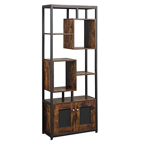 homcom Mobile Libreria in Stile Industriale 8 Ripiani con Armadietto a 2 Ante per Casa e Ufficio, 70x30x180cm, Marrone