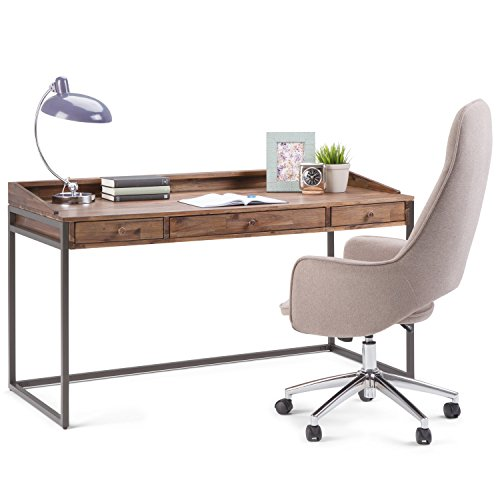 SIMPLIHOME Ralston SOLID WOOD and Metal Modern Industrial 60 inch Wide Home Office Desk, Writing Table, Workstation, Study Table Furniture in Rustic Natural Aged Brown with 2 Drawerss