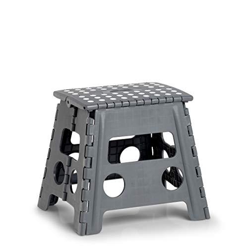 Zeller Present - Schöner LEBEN. Praktisch WOHNEN. Zeller 13035 PREMIUM Klapphocker faltbar, Kunststoff, anthrazit, TÜV geprüft, belastbar bis 150 kg, ca. 37 x 30 x 32 cm, Plastik, mittel