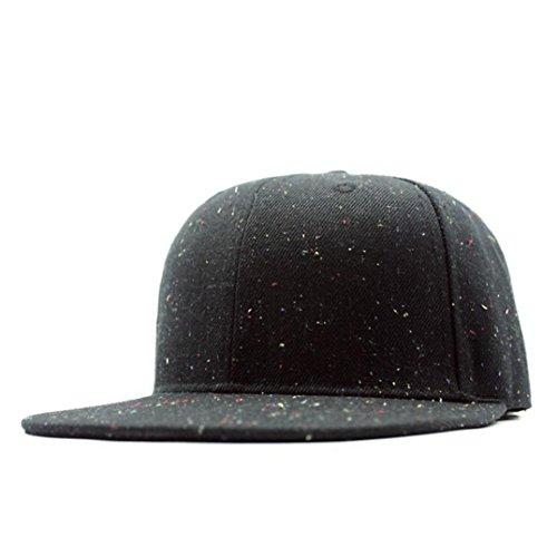 Iuhan Wave Point Baseball Cap Snapback Hat Hip-Hop Adjustable Trucker Bboy Cap (Black)