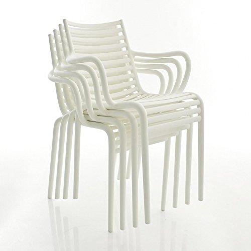Driade Pip-e - Set di 4 sedie con braccioli, colore: Bianco opaco