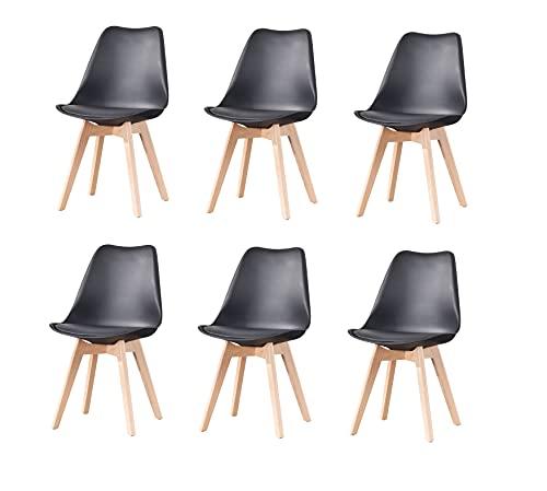 MeillAcc Silla de comedor clásica moderna, 6 piezas de lino patchwork, sala de estar, dormitorio y estudio (negro 1, 6)