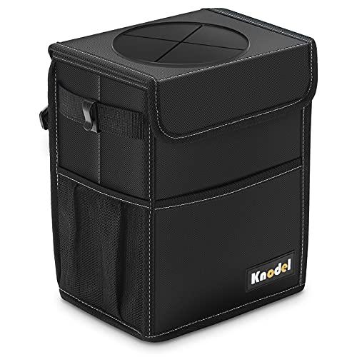 Knodel Car Trash Can, Waterproof Auto Garbage Bag, Car Trash Can with Lid, Leak-Proof Car Storage Bag, Auto Garbage Bag Hanging (Medium, Black)