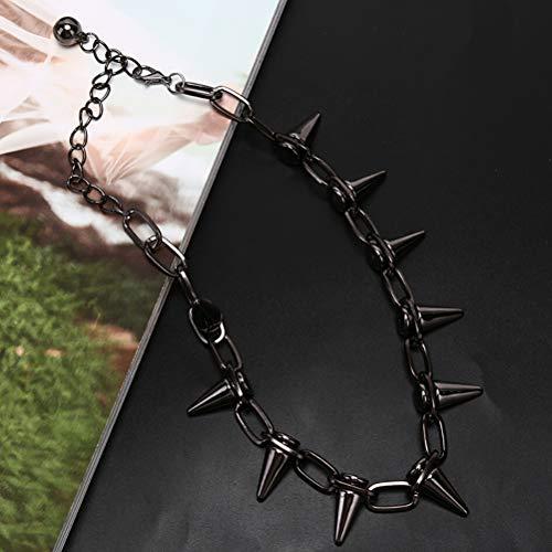 TBoxBo 2 collares con remaches punk, estilo gtico Rock Biker Link Chain Gargantilla joyera Bullet Spiked Orange Punk Collar para hombre y mujer (Negro).
