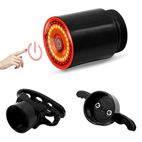 Wasafire Luz Trasera De Bicicleta Inteligente Recargable USB, Luz De Freno Super Brillante Rojo Luz Led Bici Impermeable, Faro Trasero Bici