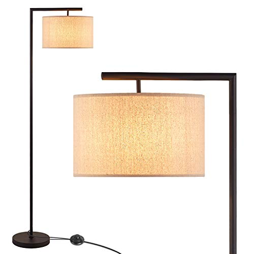 Floor Lamp for Living Room, Modern Standing Lamp, Contemporary LED Tall Lamp for Bedroom with Big Drum Fabric Lamp Shade, Montage Standing Reading Light, Tall Pole Light for Office Farmhouse