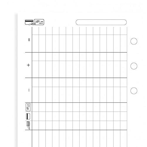 Filofax Einlage Personal: Finanzen Tabellenblatt mit Symbolen weiss