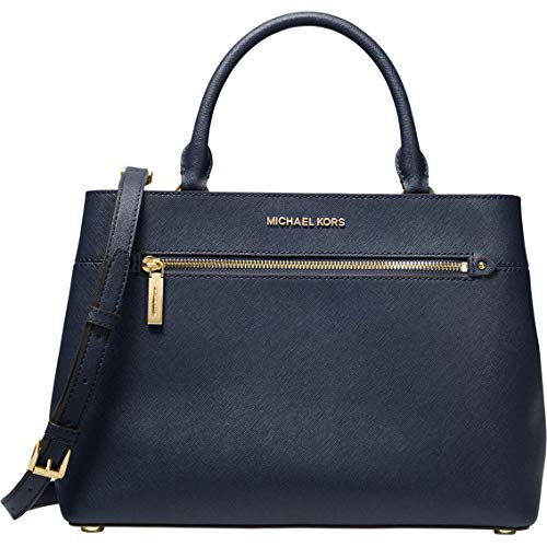 """Saffiano Leather with Silver Tone Hardware. Handle drop: 5""""   Adjustable strap: 18.5""""-22"""" Exterior details: back slip pocket, front zip pocket. Interior details: back zip pocket, 2 back slip pockets, center zip compartment. Dimensions: 12.7"""" W X 9.2""""..."""