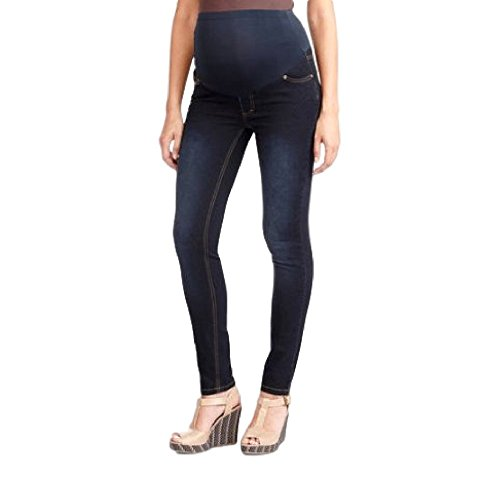 RUMOR HAS IT Maternity Over The Belly Super Soft Stretch Skinny Jeans (Small, Dark)
