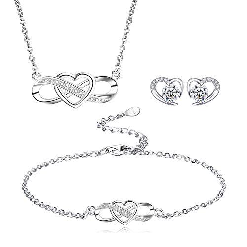 L.Adorer schmuckset Silber 925 Damen,Halskette Infinity Unendlichkeit Herz,Armkette Verstellbar Armband,Herz Ohrringe mit Zirkonia, besondere Frauen