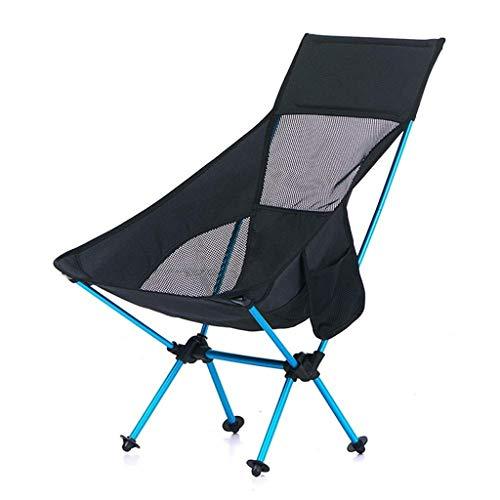 XYZMDJ Compacta Silla de Camping Respaldo Alto Ultraligero con Mochila Plegable Portable de la Silla de Campamento de Verano-Super Transpirable (Color : Black)