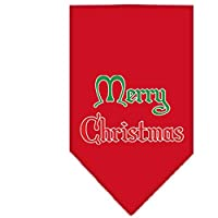 Mirage Pet Products 66-25-11 LGRD Merry Christmas Screen Print Bandana Red Large