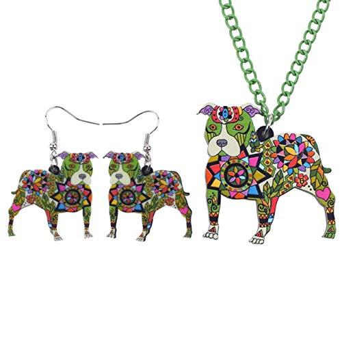 Jskdzfy Conjuntos de joyería de acrílico Pit Dog Collar Pendientes Gargantilla Collar Moda Joyería Primavera Mujer Niña Regalo (Color: Verde)