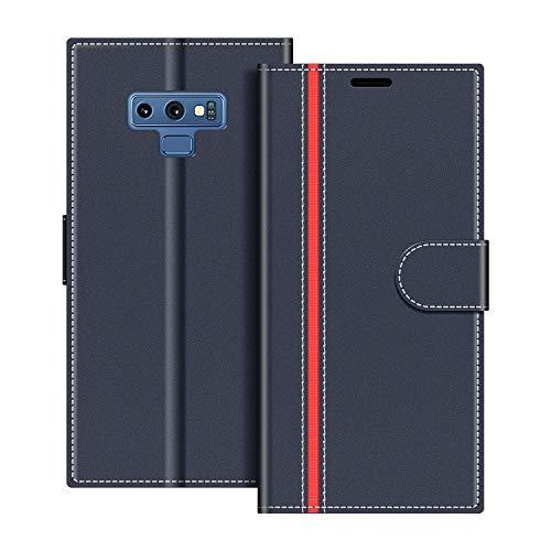 COODIO Handyhülle für Samsung Galaxy Note 9 Handy Hülle, Samsung Galaxy Note 9 Hülle Leder Handytasche für Samsung Galaxy Note 9 Klapphülle Tasche, Dunkel Blau/Rot