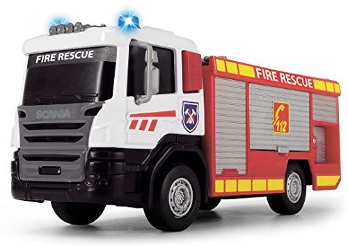 Dickie Toys 203712016-Scania, Camión de bomberos de marcha libre, 2 tipos, cabina fundida a presión, 17 cm, multicolor , color/modelo surtido