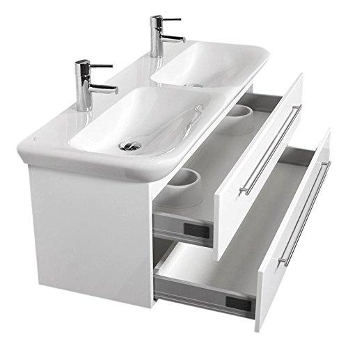 Badezimmer Doppel-Waschtisch mit Unterschrank weiß Hochglanz inkl. 130cm KERAMAG Keramik Doppel-Waschbecken