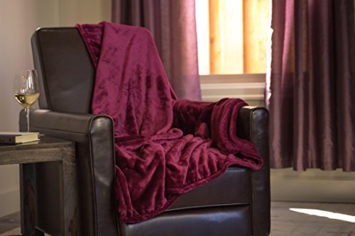 Higher Comfort Luxuriously Soft Premium Throw Blanket - Burgundy - 50' x 60' - Perfect as All-Season(s) Couch Blanket or Bed Throw