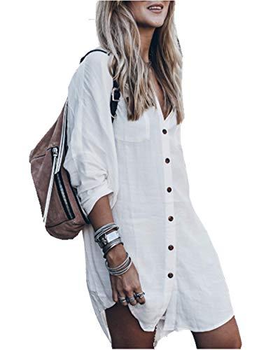 PANAX Schickes Damen Blusenkleid mit Knöpfe in Weiß - Asymmetrisches Sommerkleid für Urlaub, Strand, Sonne, Meer, Baden, Freizeit, Garten Weiß