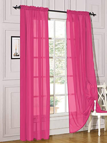 Decotex 2 Piece Sheer Voile Light Filtering Rod Pocket Window Curtain Panel Drape Set Available in a Variety of Sizes and Colors (54' X 84', Hot Pink)