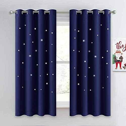 NICETOWN Kids Curtains, Navy Blue Romantic Star Curtains Thermal Insulated Blackout Drapes for Kids Teenagers Bedroom Small Window (W52 x L63, Set of 2)