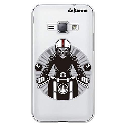 dakanna Custodia Compatibili con [Samsung Galaxy J1 (2016)] Sfondo Trasparente con Disegni [Cranio del Motociclista] in Morbida Silicone TPU Flessibile, Shell Case Cover in Gel per Smartphone