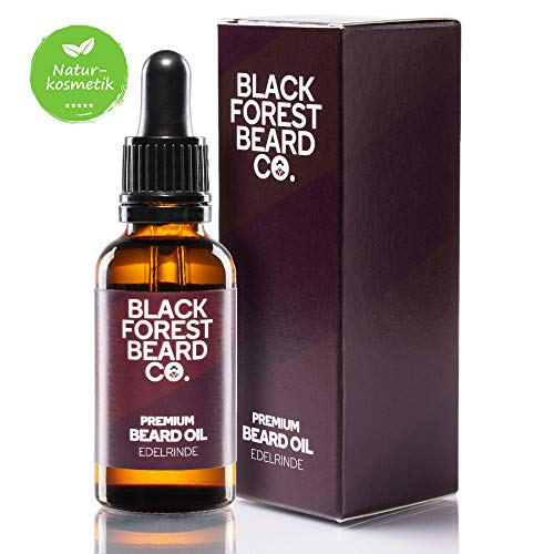 30ml Blackforest Beard Co. Premium Bart-Öl EDELRINDE | Vanille & Rosenholz Duft | Handgemacht im Schwarzwald | Bart-Pflege mit Provitamin B5 | 100% Natürliche Öle | Hochwertiges Oud veredelt das Aroma
