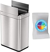 iTouchless with AbsorbX Odor Filter and Pet-Proof Lid, Stainless Steel Kitchen Waste Bin Prevents Dogs & Cats Getting Wings-Open Sensor Trash Can, Silver, 13 Gallon