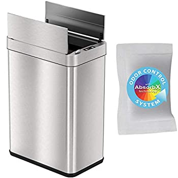 iTouchless 13 Gallon Wings-Open Sensor Trash Can with AbsorbX Odor Filter and Pet-Proof Lid Stainless Steel Automatic Touchless Garbage Prevents Dogs & Cats Getting in kitchen-waste-bins