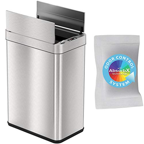 Find Bargain iTouchless 13 Gallon Wings-Open Sensor Trash Can with AbsorbX Odor Filter and Pet-Proof...
