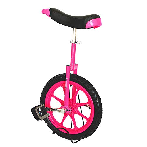 HWF Einrad Kinder Kinder 16-Zoll-Rad Einrad mit Bequemem Sattelsitz & Gummibergreifen für Balance-Training Road Street Bike Radfahren (Color : Pink)