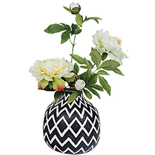 DXIUMZHP Floristik Simulationspfingstrose Innenstraußdekoration Personalisierte Blumen-Kunstblumen Wohnzimmer Esstisch Schlafzimmermöbel Vase Mit Afrikanischen Elementen (Color : Weiß, Size : 2+vase)