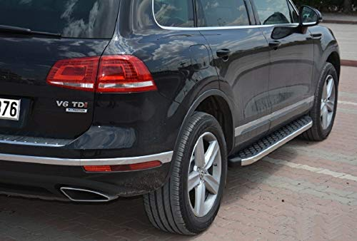 Trittbretter passend für VW Touareg R-Line ab Baujahr 2002-2018 Model Hitit in Chrom mit TÜV und ABE