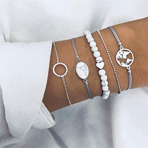 HJHQQ-CZYHG With map set of turquoise-colored layered bracelets, for women and girls, circle-shaped wrist chain accessories