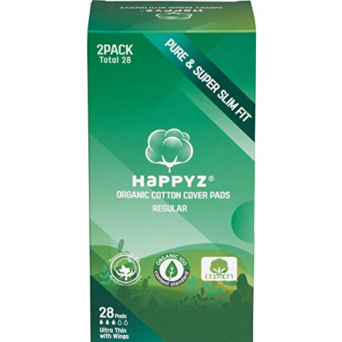 HAPPYZ Certified Organic Cotton Cover Pads, Ultra Thin with Wings for Women, Free of Chlorine Fragrances Deodorants and Toxins, Natural Sanitary Napkins (Regular)