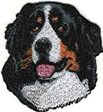 VirVenture 1 7/8' x 2 1/8' Head Portrait Bernese Mountain Dog Breed Embroidery Patch Great for Hats, Backpacks, and Jackets.