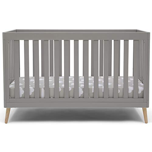 Delta Children Essex 4-in-1 Convertible Baby Crib, Grey with Natural Legs + Delta Children Twinkle Galaxy Dual Sided Recycled Fiber Core Crib and Toddler Mattress (Bundle)